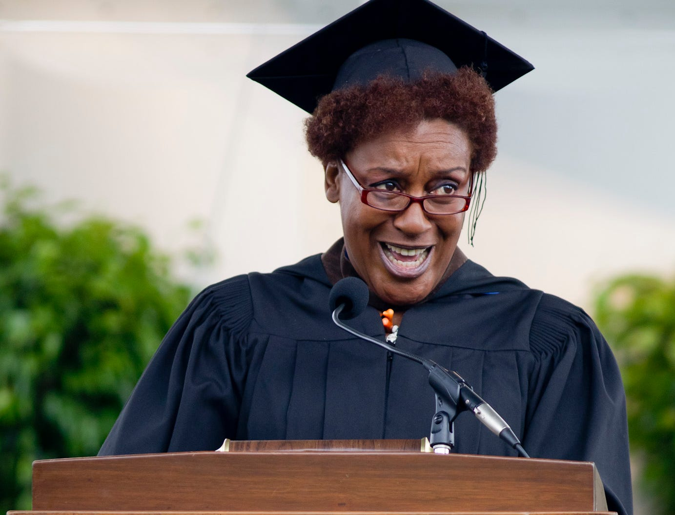 2010: Actress and activist CCH Pounder delivers the main address at the Ithaca College Commencement Ceremony Sunday in Butterfield Stadium. Pounder is a 1975 graduate of the college.