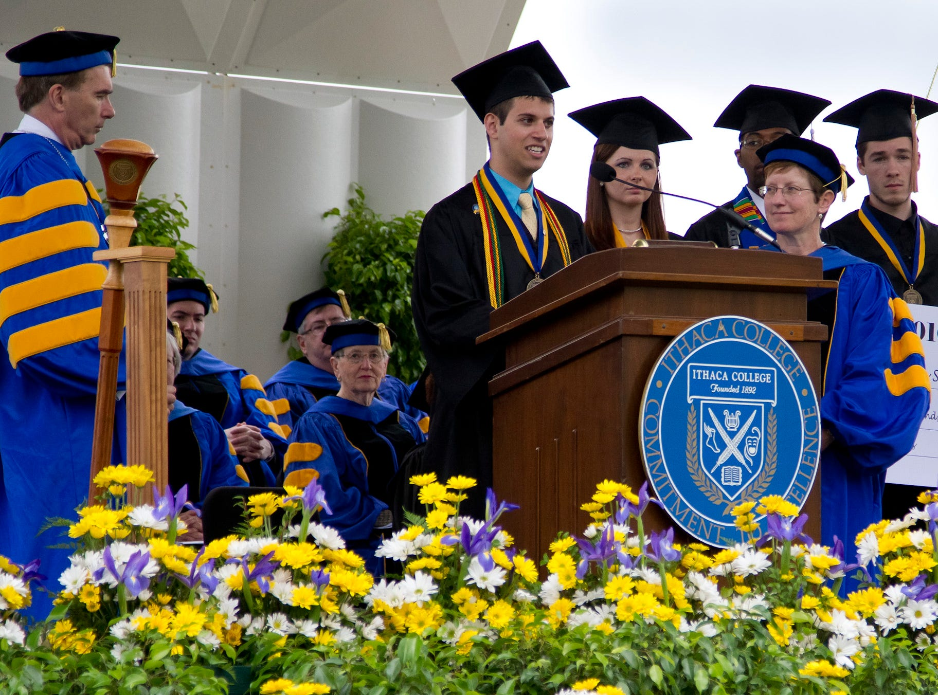 2010: The Senior Class Gift of $79,414.00 is presented at the Ithaca College Commencement Ceremony Sunday in Butterfield Stadium.