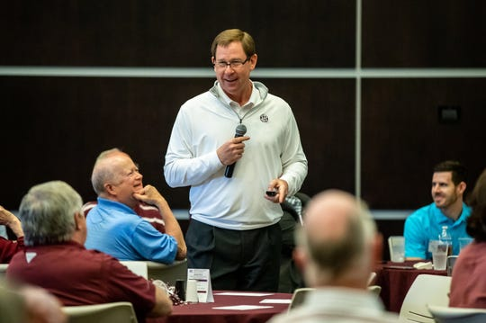 Mississippi State Director of Athletics John Cohen speaks to attendees at a Road Dawgs Tour stop in Starkville.