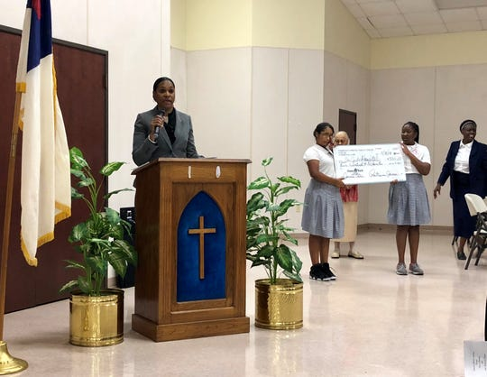St. Martinville Mayor Melinda Mitchell addresses students and families during a special event Thursday, May 9 at Gethsemane Christian Academy in Lafayette.