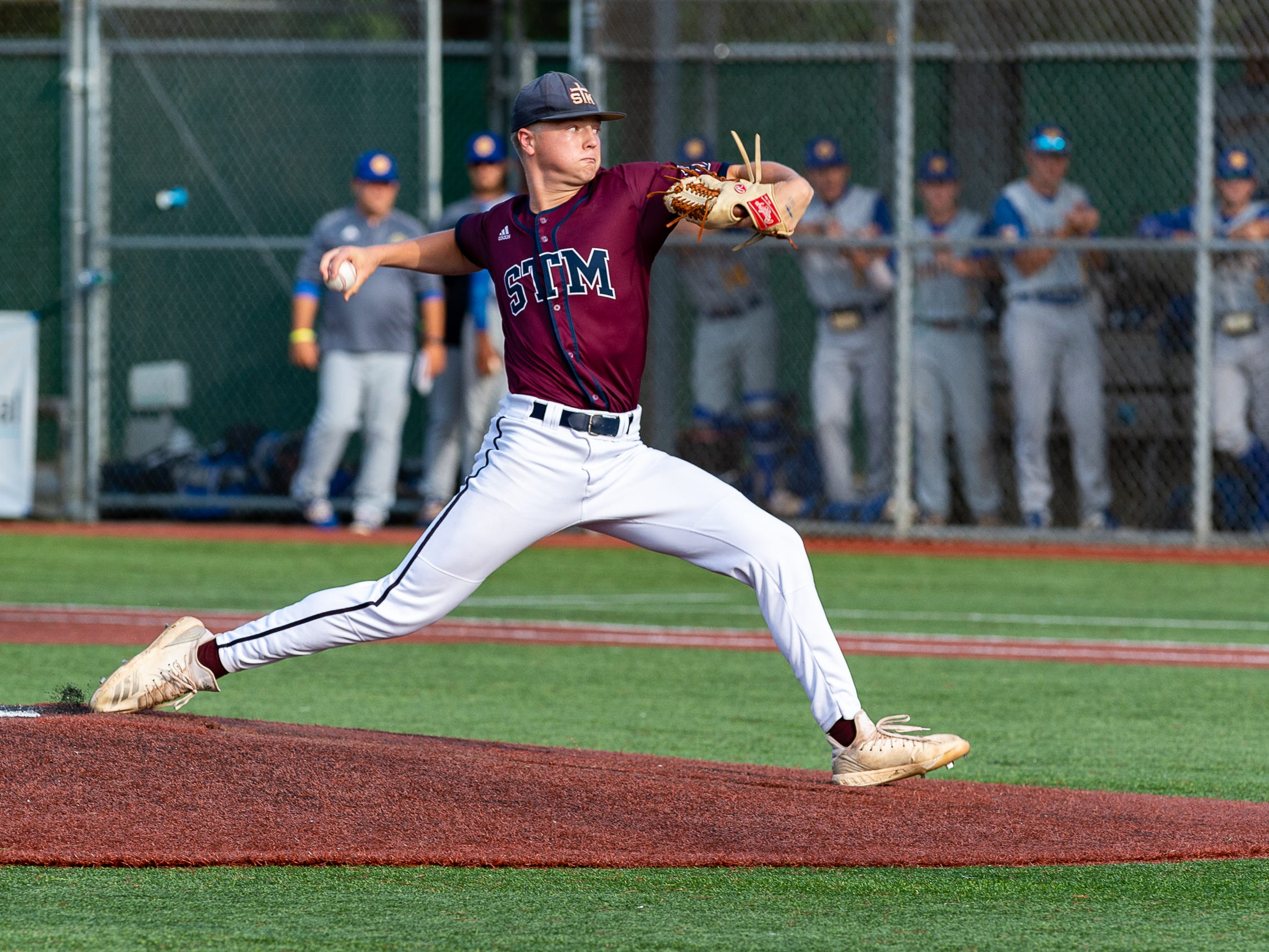 Drew McDaniel on the mound as St Thomas More takes on St Charles  in the Div II semi final round at the LHSAA State Championship. . Sunday, May 12, 2019.