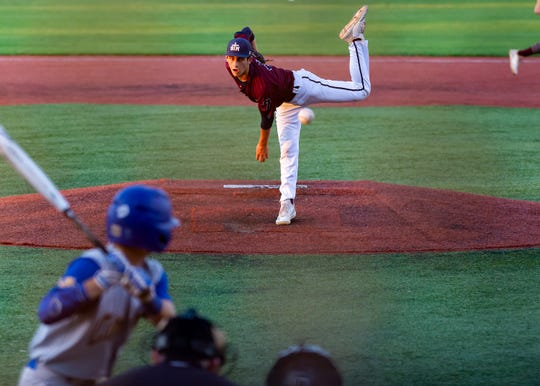 John Moody on the mound as St Thomas More takes on St Charles  in the Div II semi final round at the LHSAA State Championship. . Sunday, May 12, 2019.