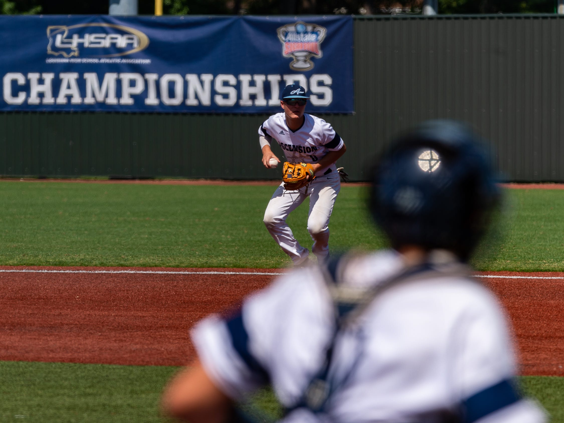 Cole Simon comes up with the grounder as Ascension Episcopal falls to Calvary Baptist Championship round at the LHSAA State Tournament. Monday, May 13, 2019.