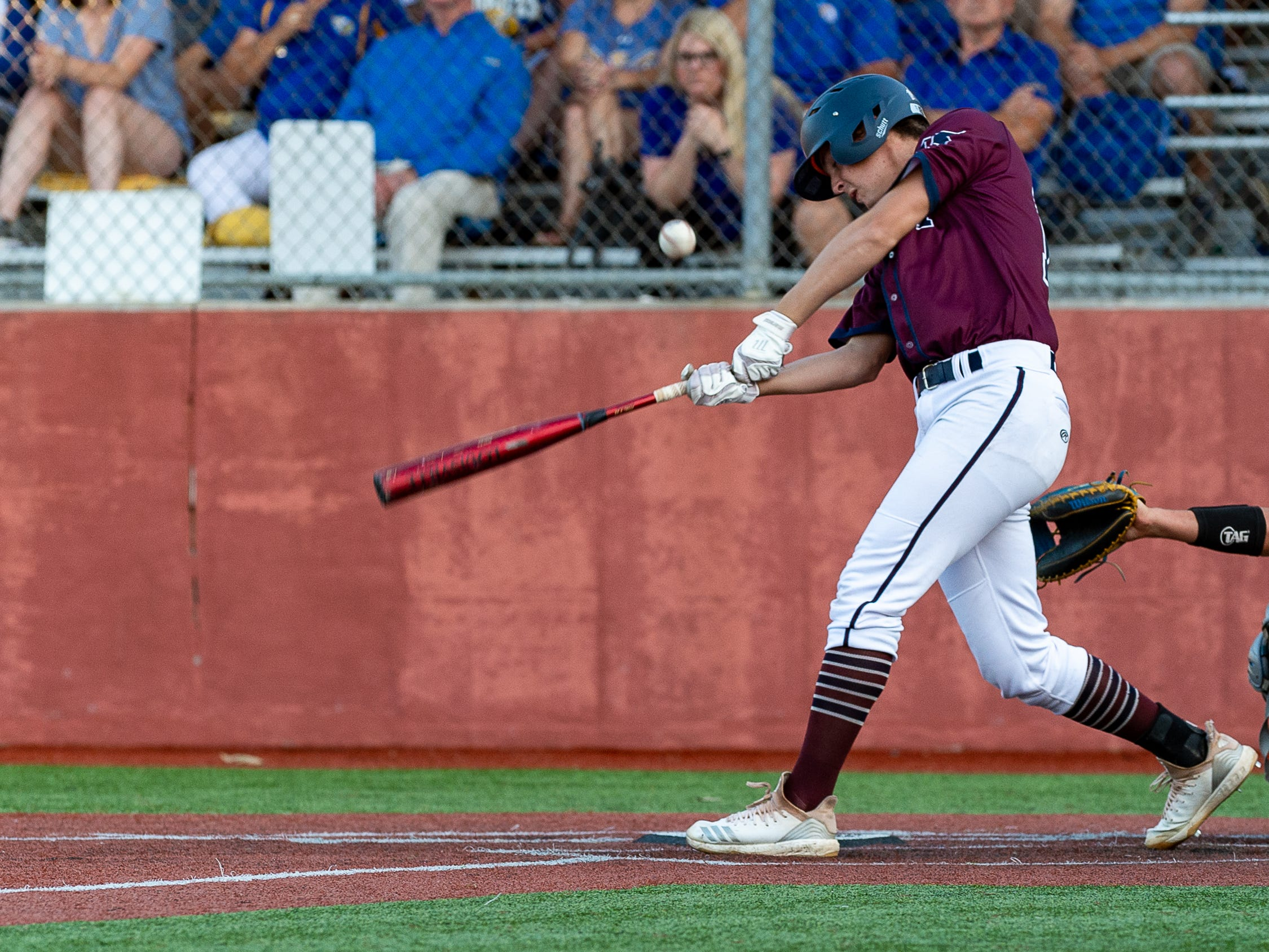 Connor Duffy at the plate as St Thomas More takes on St Charles  in the Div II semi final round at the LHSAA State Championship. . Sunday, May 12, 2019.