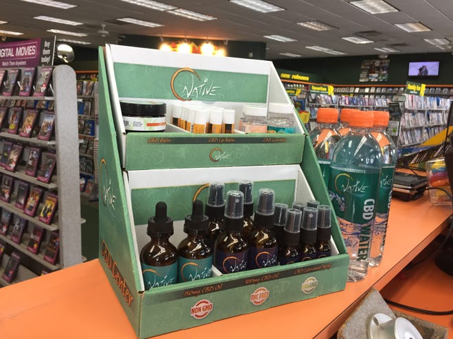 A variety of CBD products, derived from hemp but THC-free, are for sale at Family Video's Howell location, shown Monday, May 13, 2019.