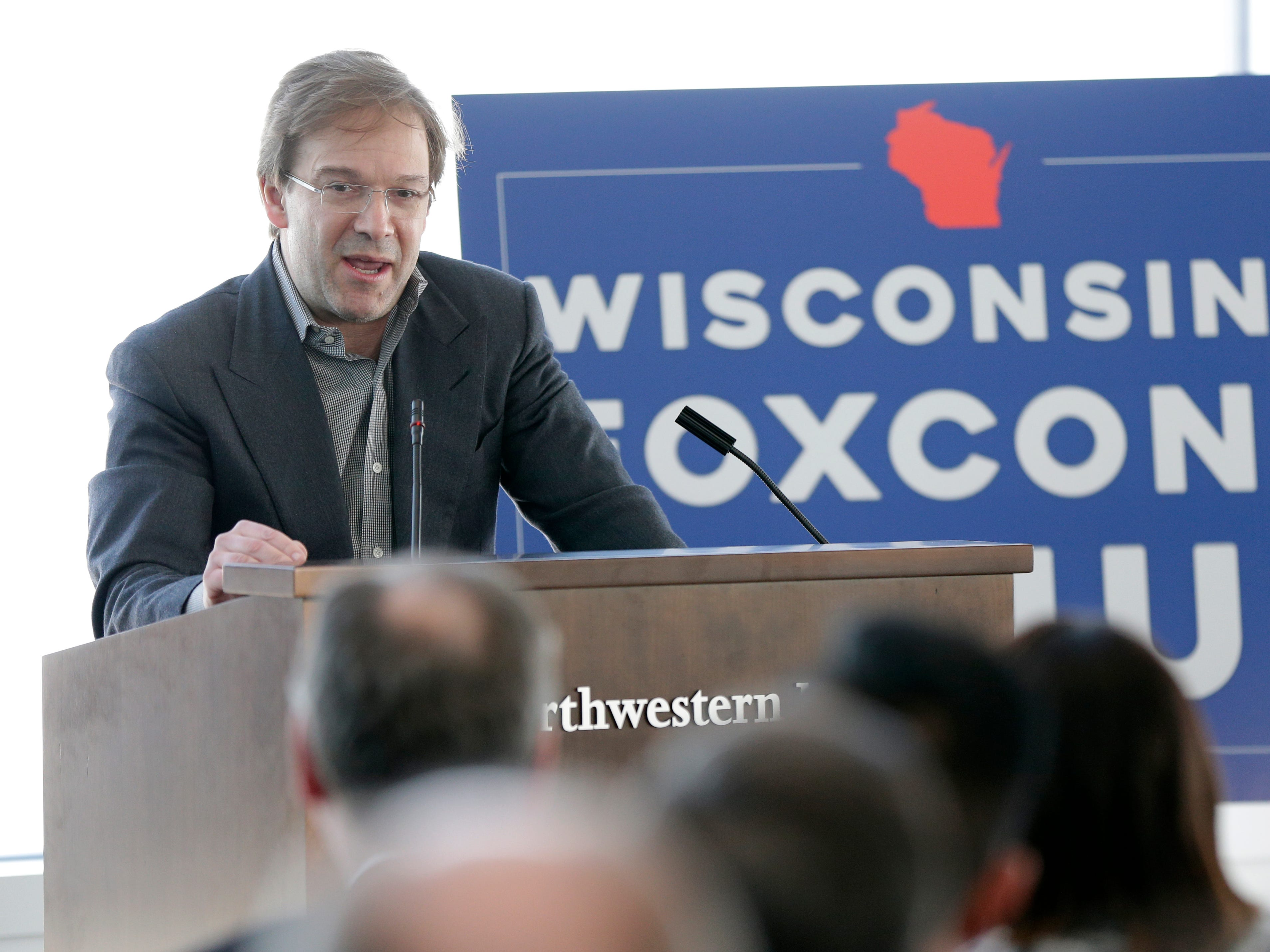 2018: Foxconn Technology Group held a press conference at the Northwestern Mutual Tower and Commons on E. Mason St. in Milwaukee to announce plans to buy the 132,800-square-foot building at 611 E. Wisconsin Ave. from Northwestern Mutual Life Insurance Co.The building will become Foxconn's North American headquarters. Milwaukee County ExecutiveChris Abele spoke about the partnership with Foxconn and the county.