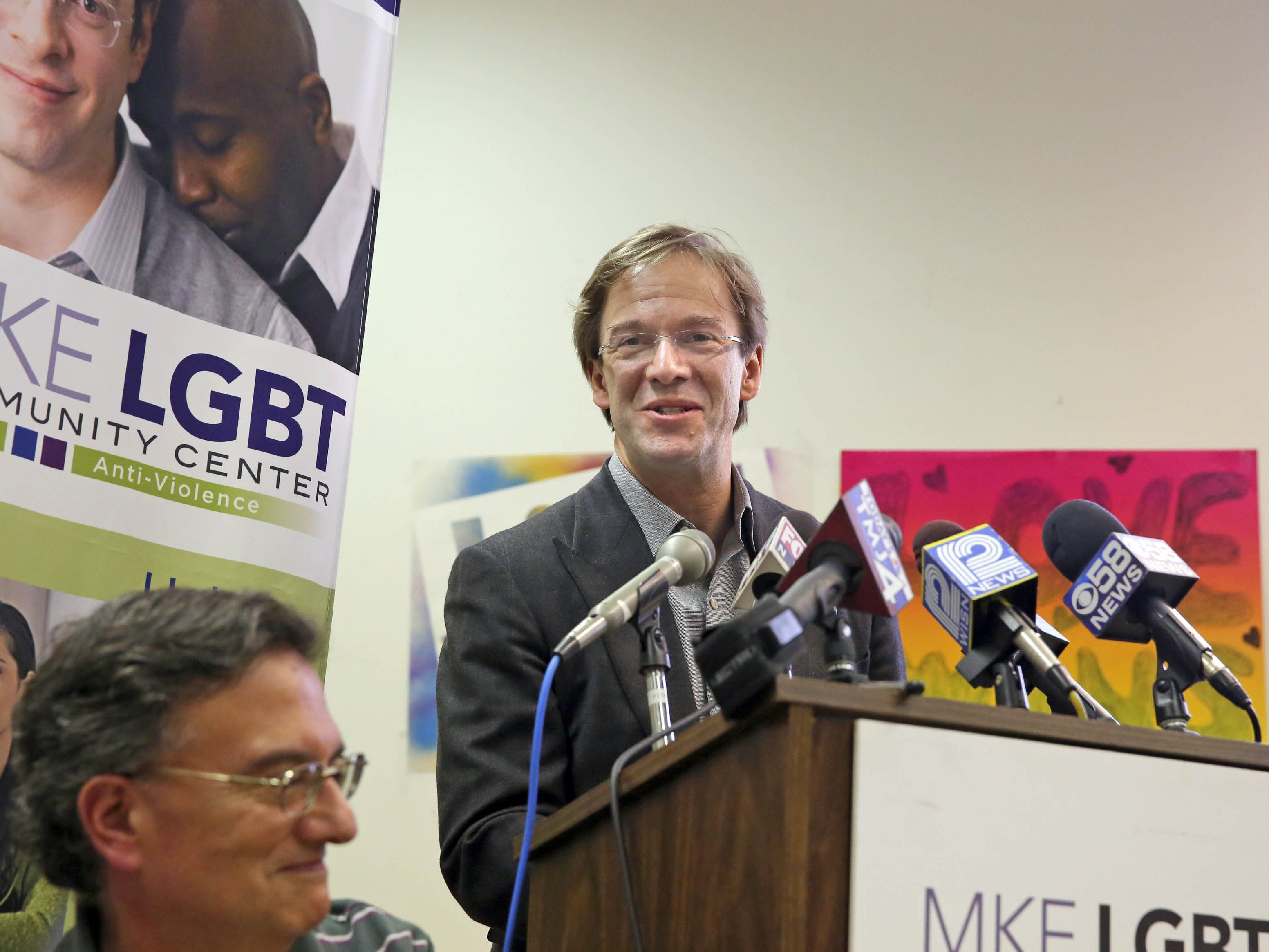 2014: Milwaukee County Executive Chris Abele speaks during a press conference on same-sex marriage equality at the LGBT Community Center, 1110 N Market St., Milwaukee. The community is seeking the freedom to marry in Wisconsin or to have their out-of-state marriages recognized.