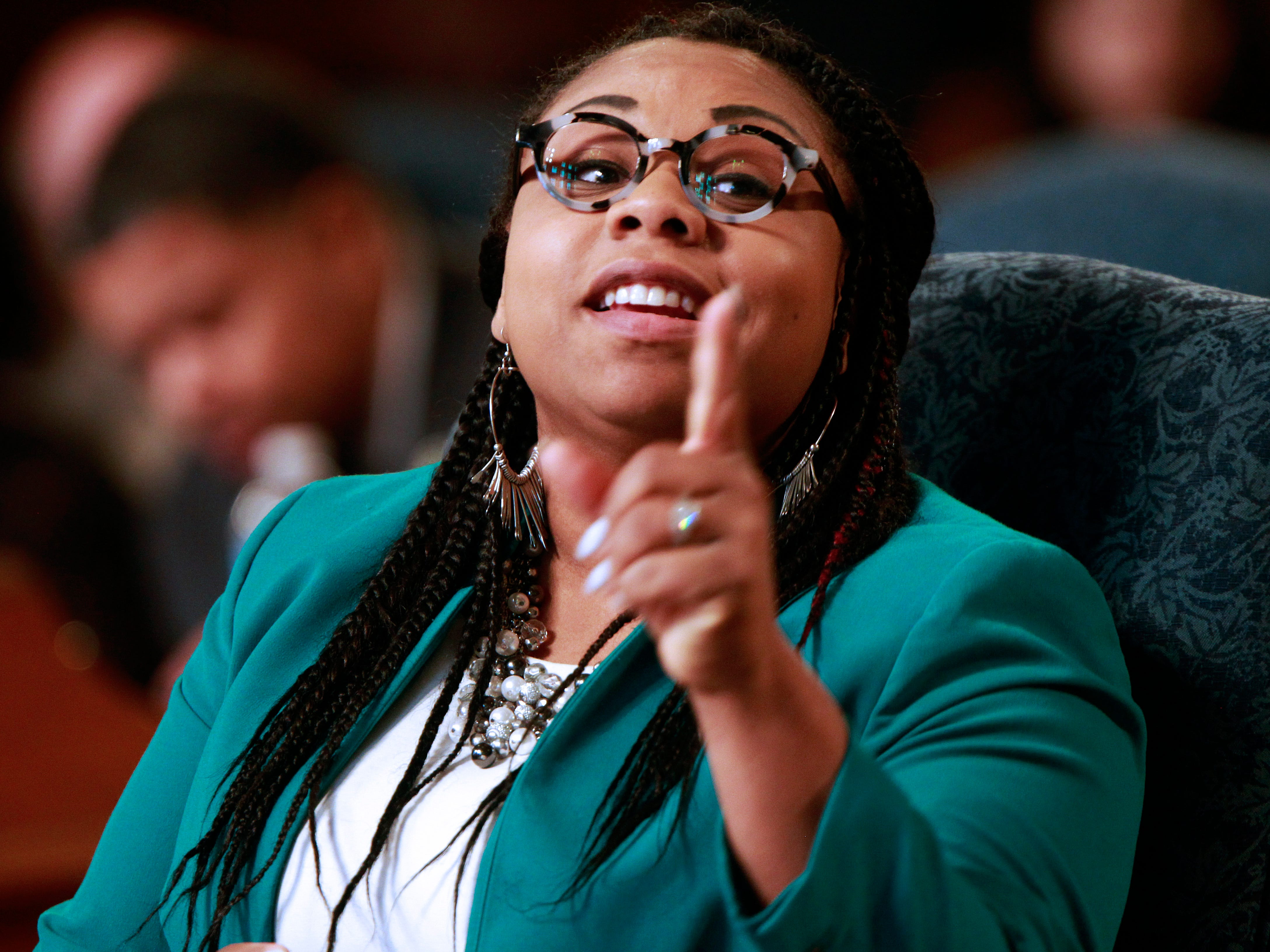 Milwaukee Alderwoman Chantia Lewis makes a point during a Common Council meeting at Milwaukee City Hall.