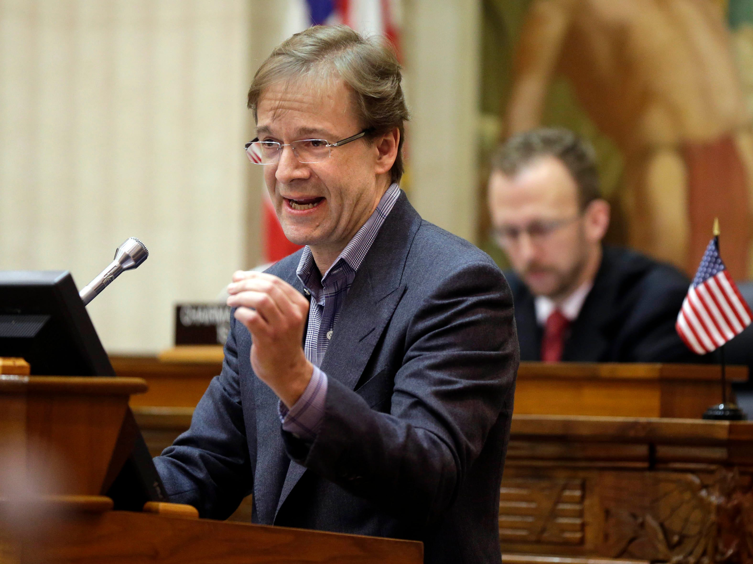 2015: Milwaukee County Executive Chris Abele discussed his proposed 2016 budget at the County Board meeting in the Milwaukee County Courthouse.