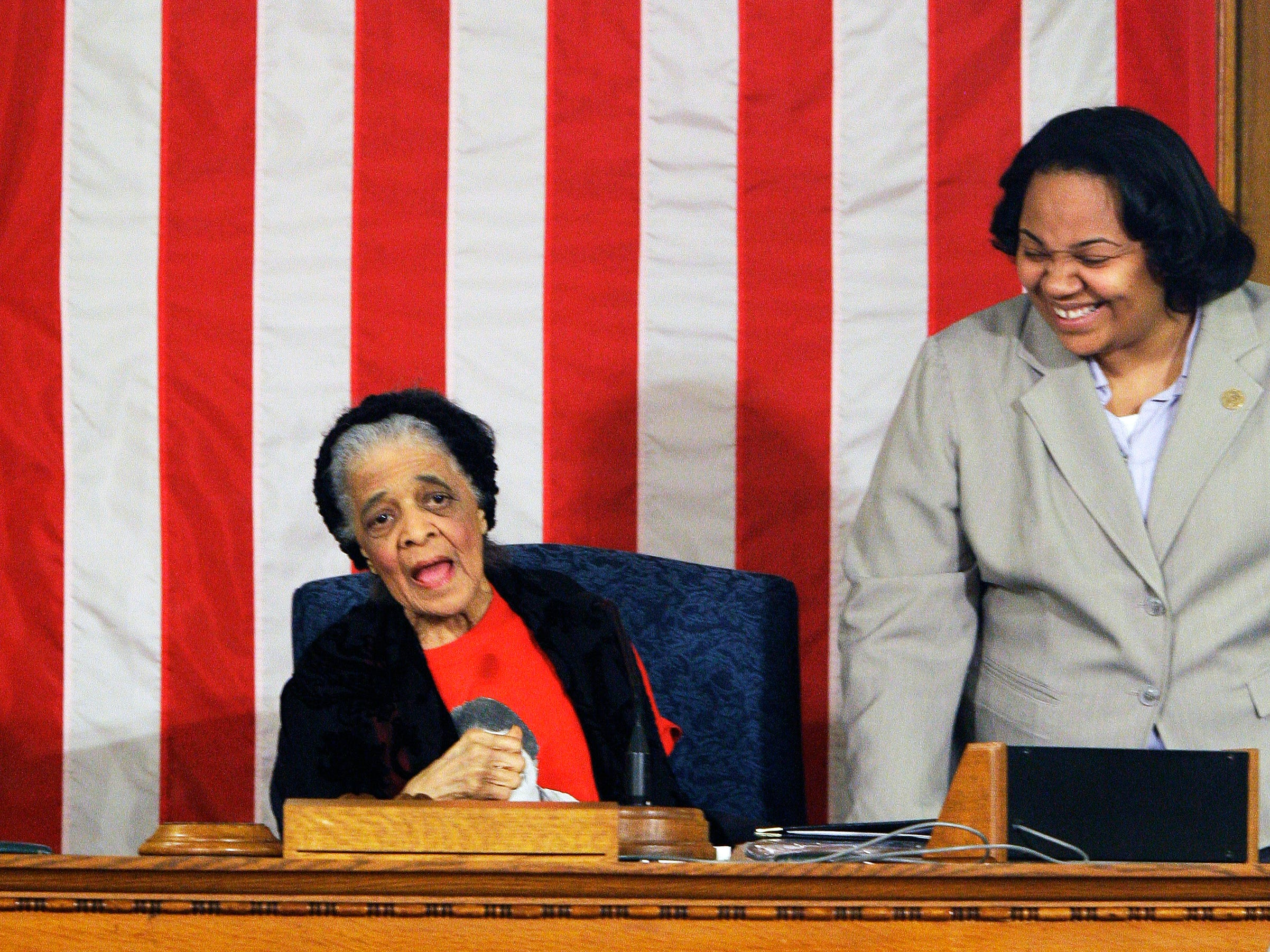 Vel Phillips speaks to the Common Council from the president's desk, while  Alderwoman Milele A. Coggs looks on. Phillips was being honored at the Common Council meeting in this March 4, 2014, Journal Sentinel file photo for her many years as a civil rights advocate. Phillips paved the way as  the first woman and first African American woman in the Milwaukee Common Council. She died in 2018.