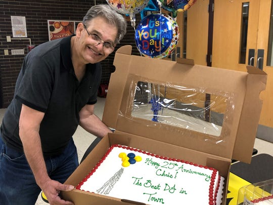 Chris Dalgren of Waukesha was honored at ARCh's April 25 social for reaching his 25th year as the DJ of the dances.