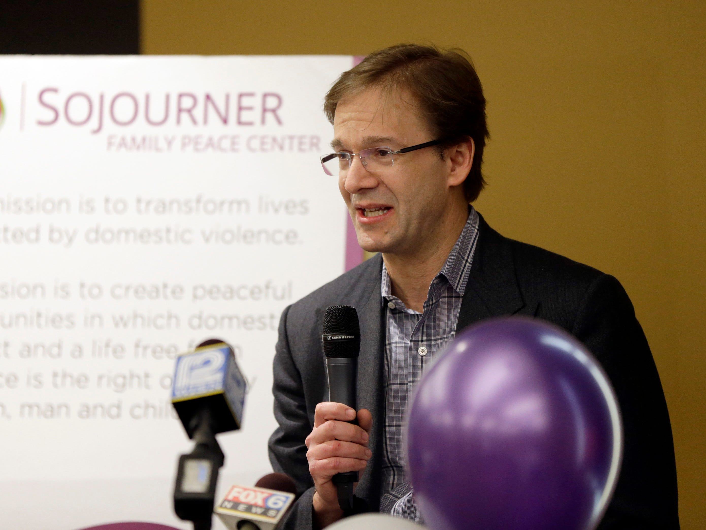 2016: Milwaukee County Executive Chris Abele speaks during the opening of the new Sojouner Family Peace Center at 619 W. Walnut St. in Milwaukee. City leaders, funders, partners and residents got their first comprehensive tour of the new facility. The building will centralize services for domestic violence victims and their children. Spanning 70,000 square feet, it's the largest family justice center operating in the country and is among a handful that use a model of providing shelter, child protection and core health services all in one place.