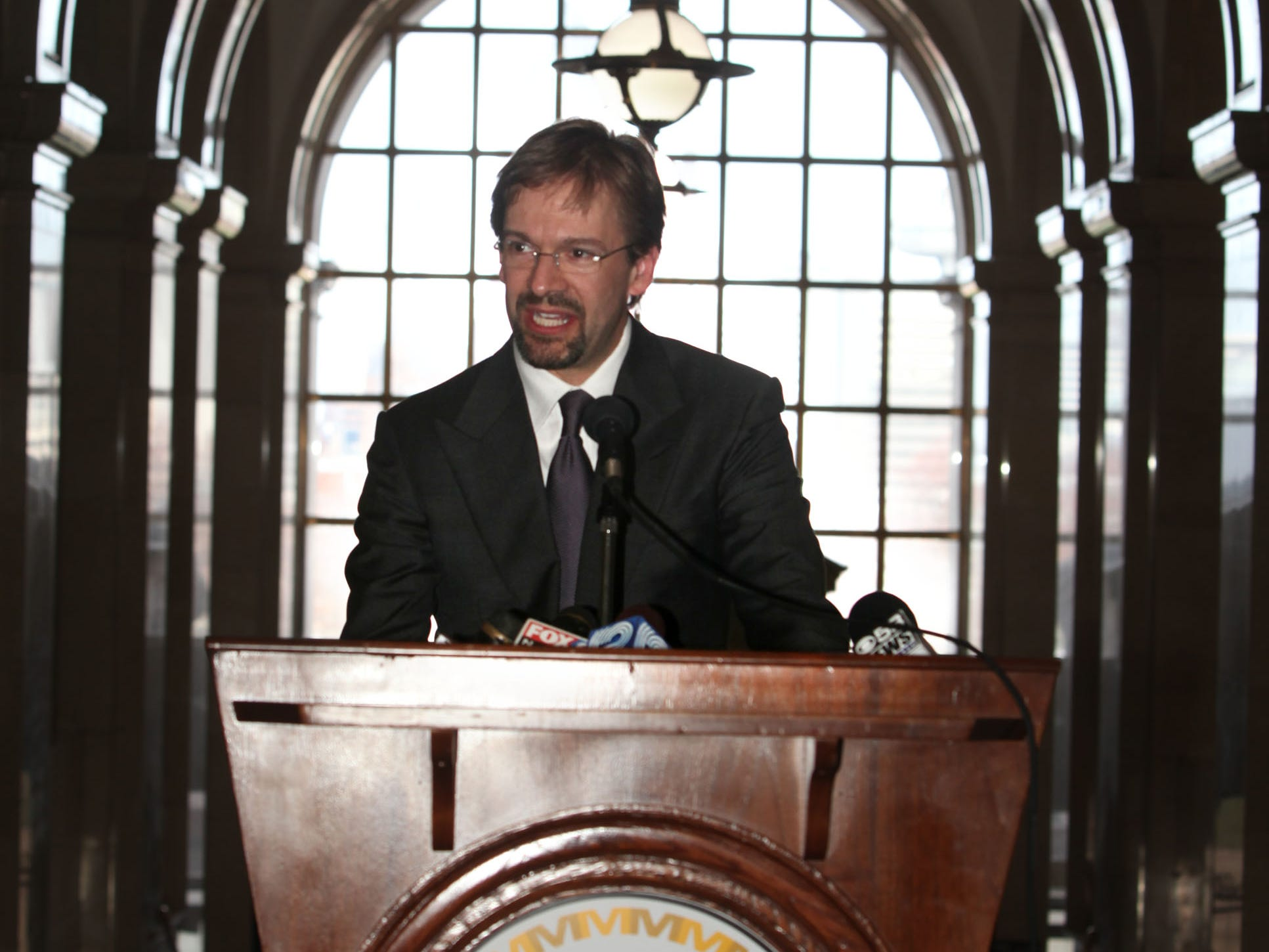 2011: Milwaukee County Executive Chris Abele addresses the crowd after he was sworn into office at the Milwaukee Courthouse rotunda.