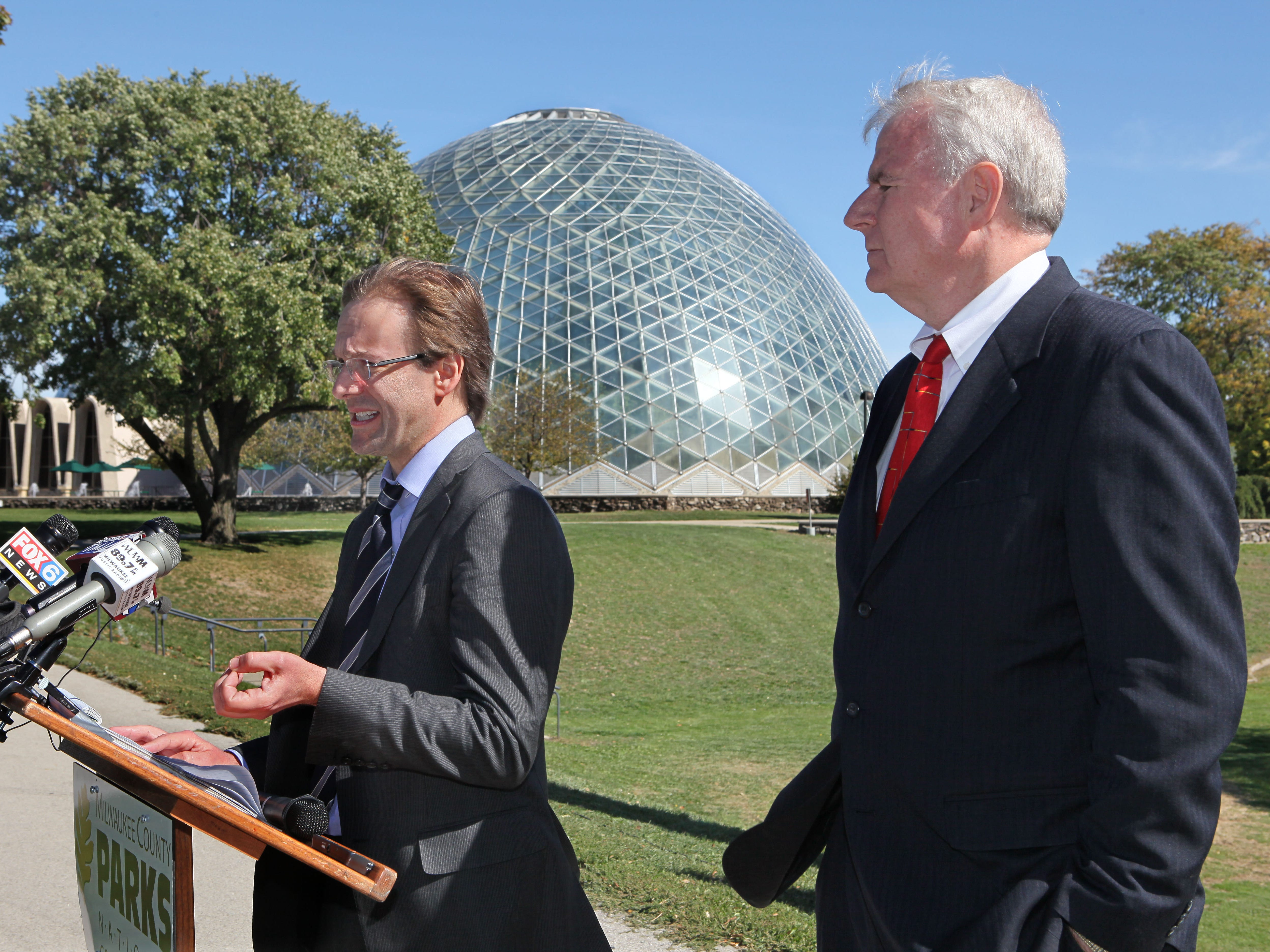 2012: 2012 County Executive Chris Abele and Milwaukee Mayor Tom Barrett held a joint press conference at Mitchell Park to announce proposed changes to the way Milwaukee County Parks are policed. The proposal will involve the City of Milwaukee Police Department and potentially some suburban departments.