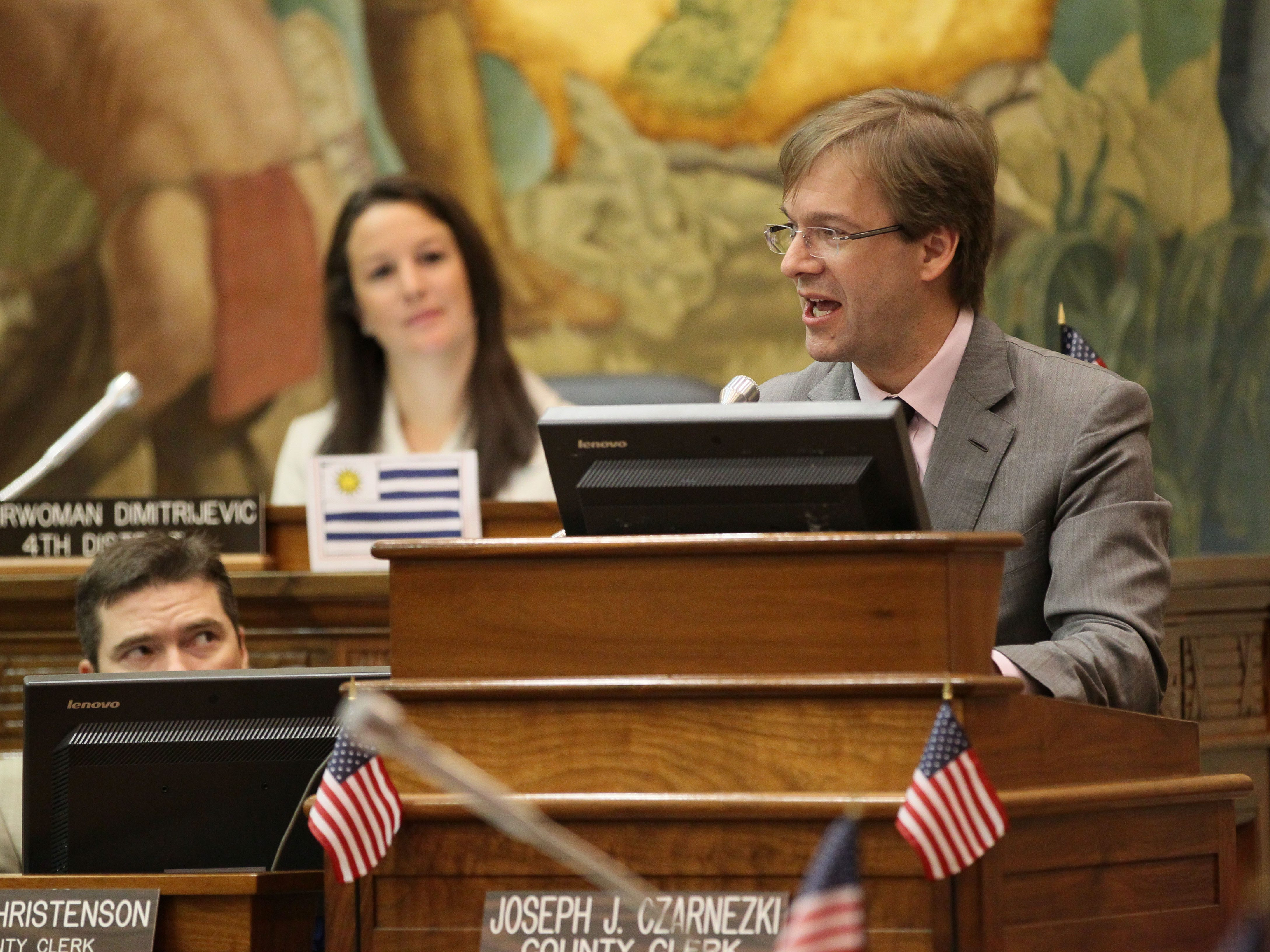 2012: Milwaukee County Executive Chris Abele delivers his budget speech before the Milwaukee County Board.