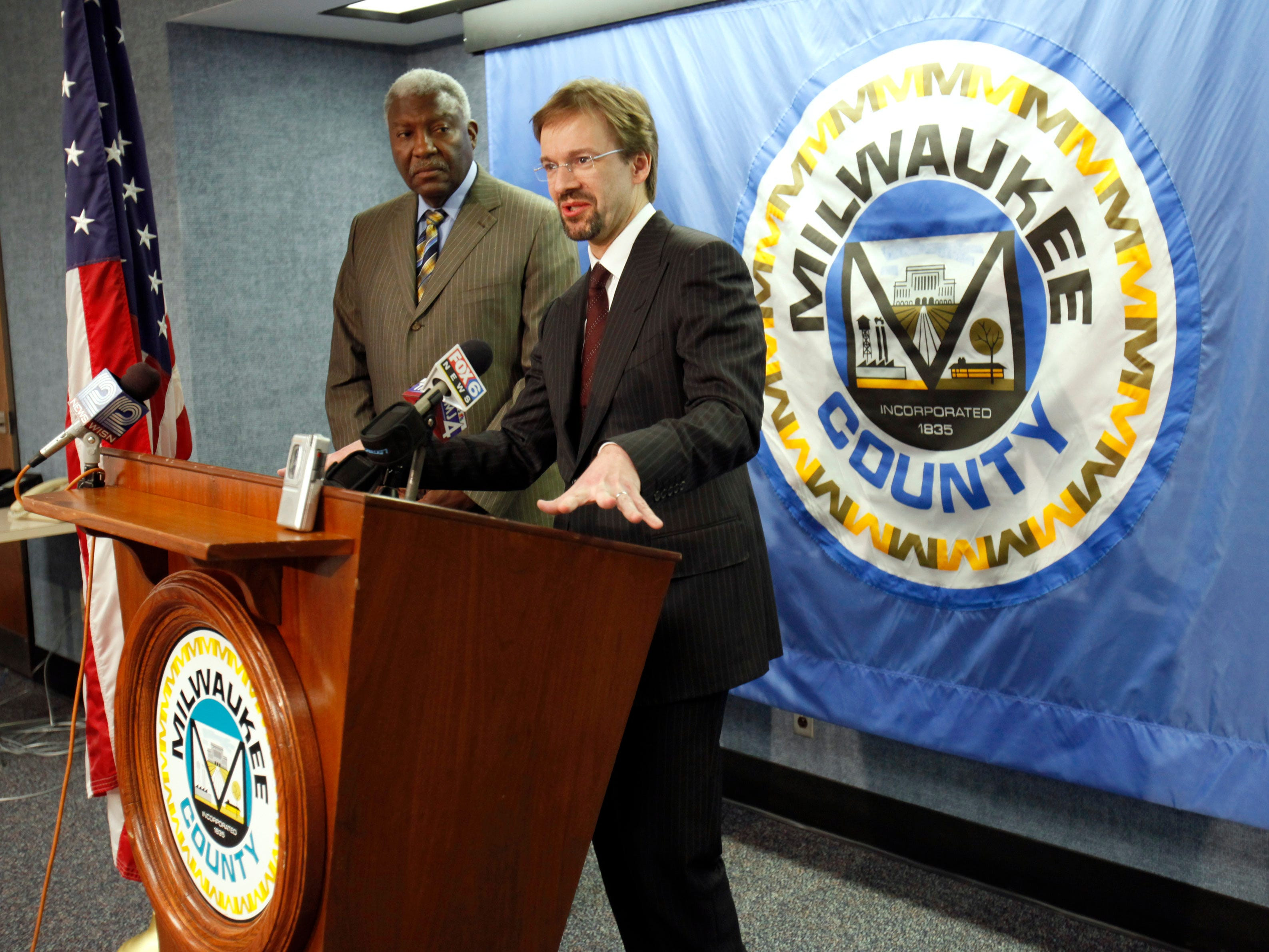 2011: New Milwaukee County Executive, Chris Abele (right), speaks during a press conference with the outgoing executive, Marvin Pratt at the Milwaukee County Courthouse on April 7.