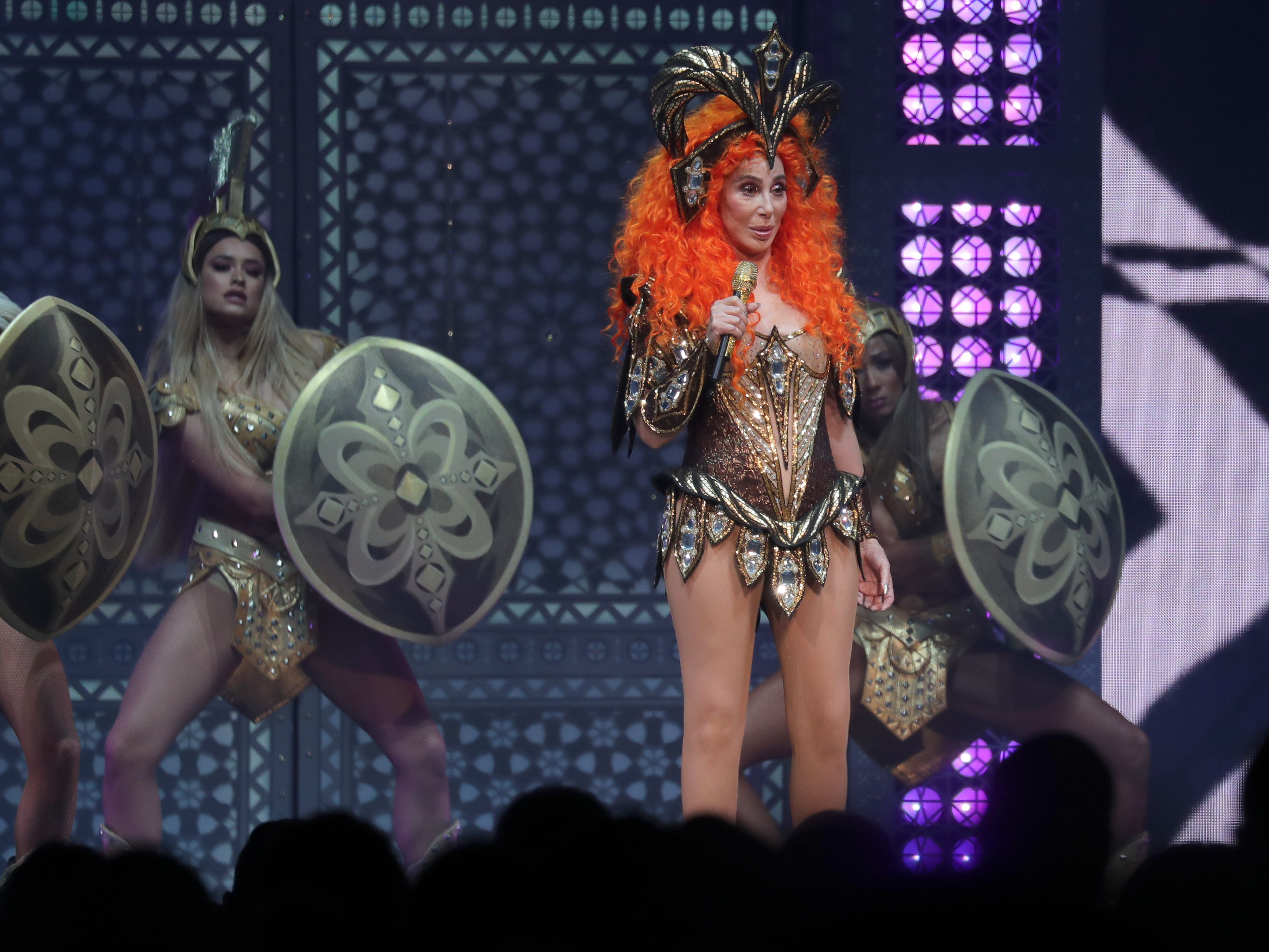 "Pop superstar Cher performs as part of her ""Here We Go Again"" tour at Fiserv Forum in Milwaukee on Sunday, May 12, 2019."