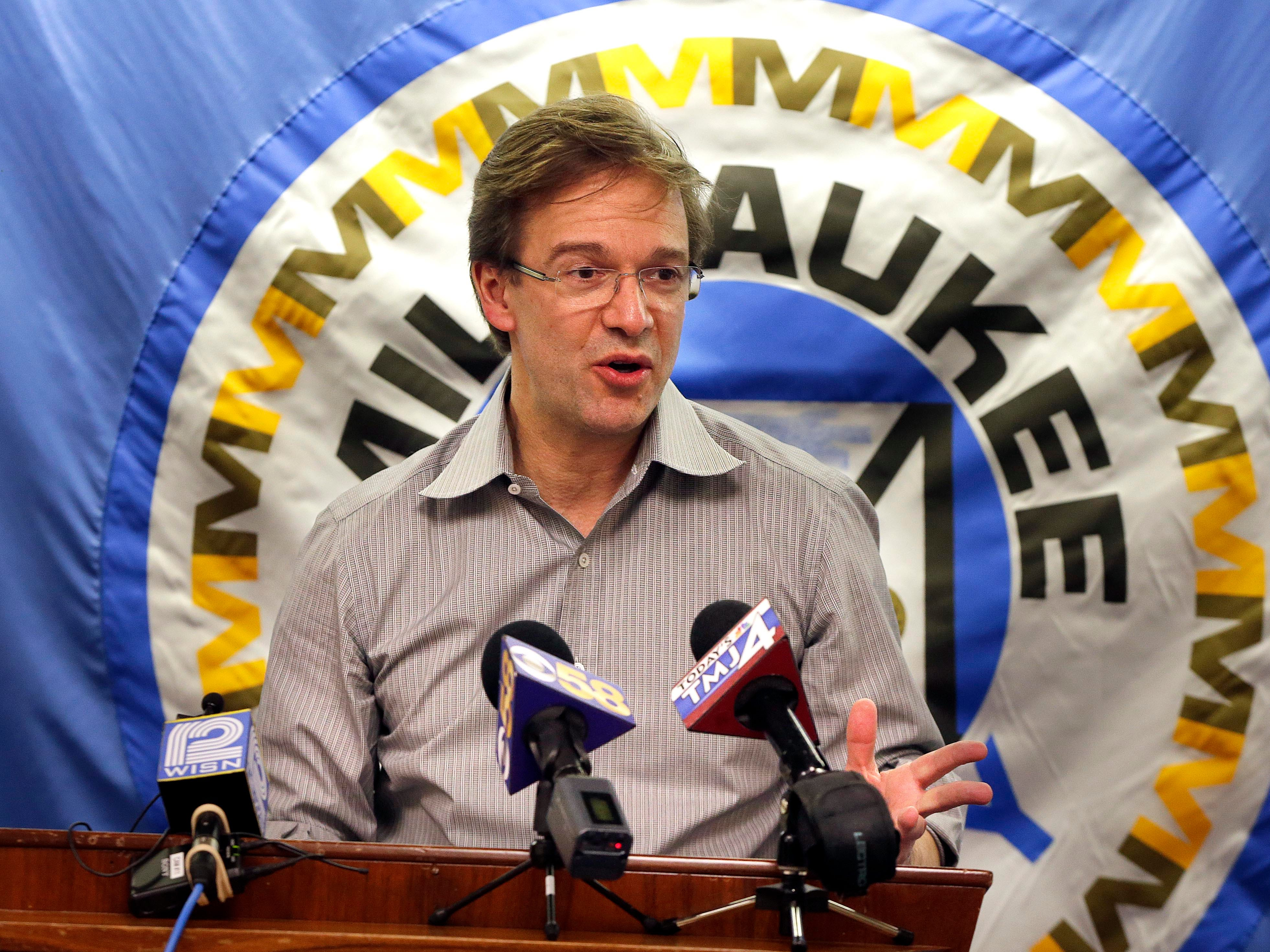 2016: At a press conference, Milwaukee County Executive Chris Abele discusses an engineering study that concluded the cost of refurbishing the troubled Mitchell Park Domes could range between $65 million and $75 million.