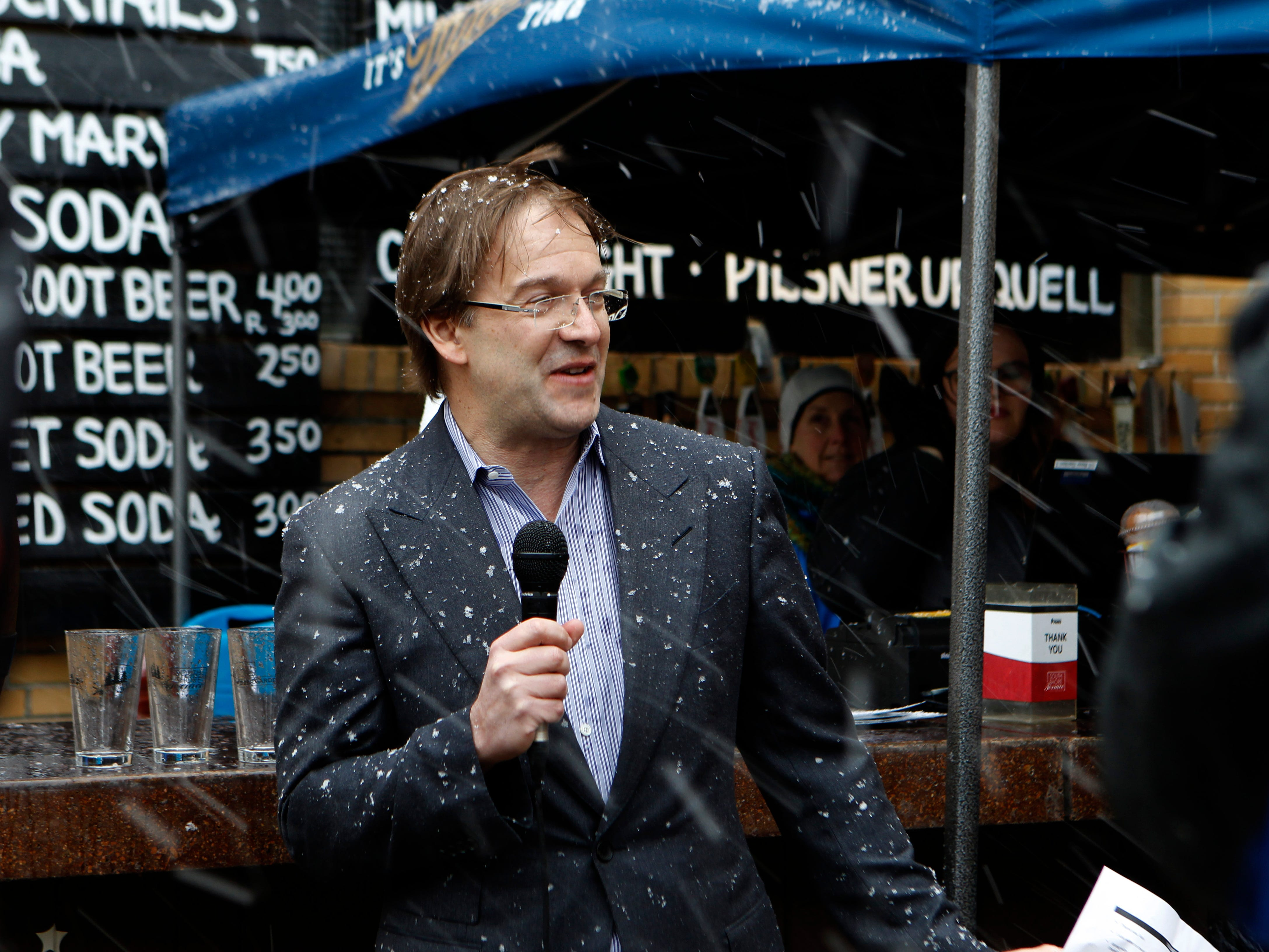 2019: Milwaukee County Executive Chris Abele speaks at South Shore Terrace on April 10. Several hundred turned out for beer garden opening that featured free beer and food.