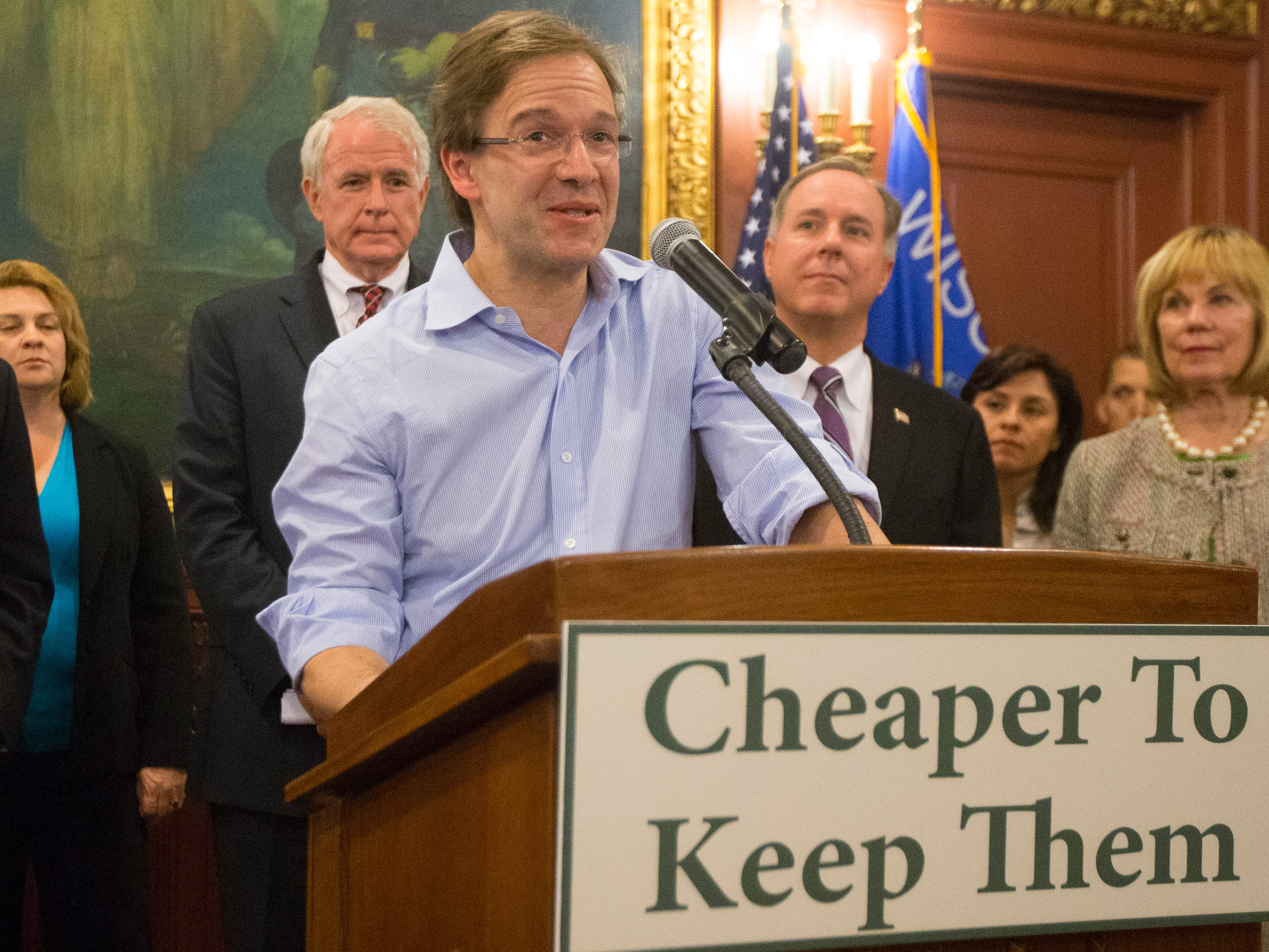 2015: Milwaukee County Executive  Chris Abele speaks about the financing plans for the proposed $500 million Milwaukee Bucks arena in Milwaukee during a news conference at the state Capital in Madison.