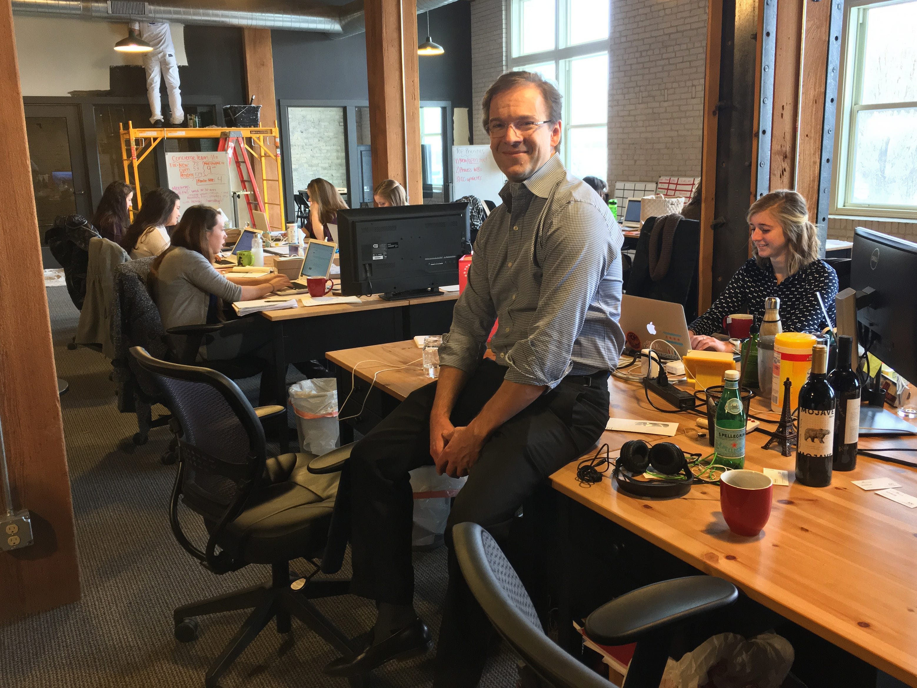 2017: Chris Abele sits in the offices of Bright Cellars, a technology-driven subscription wine club whose growth he  helped fuel.