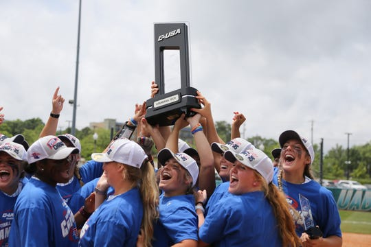 Louisiana Tech softball team celebrates winning the 2019 Conference USA tournament championship.