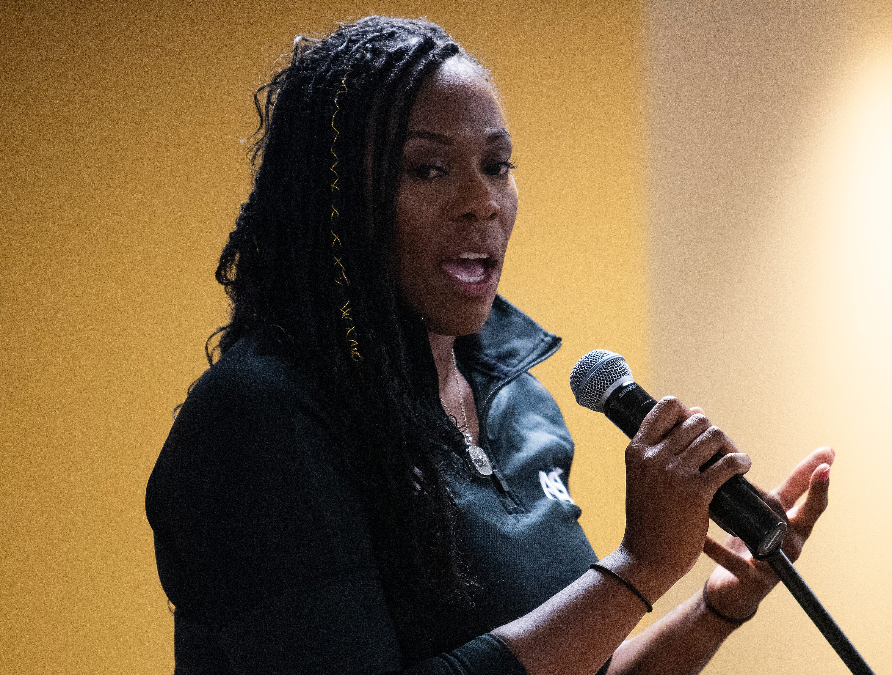 Alabama State University Athletic Director Jennifer Lynne Williams speaks at the ASU Softball team watch party, on the ASU campus in Montgomery, Ala., on Sunday evening May 12, 2019, to see where they will play in the NCAA Softball Tournament. ASU plays Alabama in Tuscaloosa.