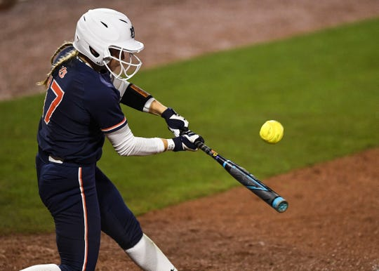 Auburn's Morgan Podany (17) hits a home run against Missouri during the SEC Tournament on Wednesday, May 8, 2019, in College Station, TX.