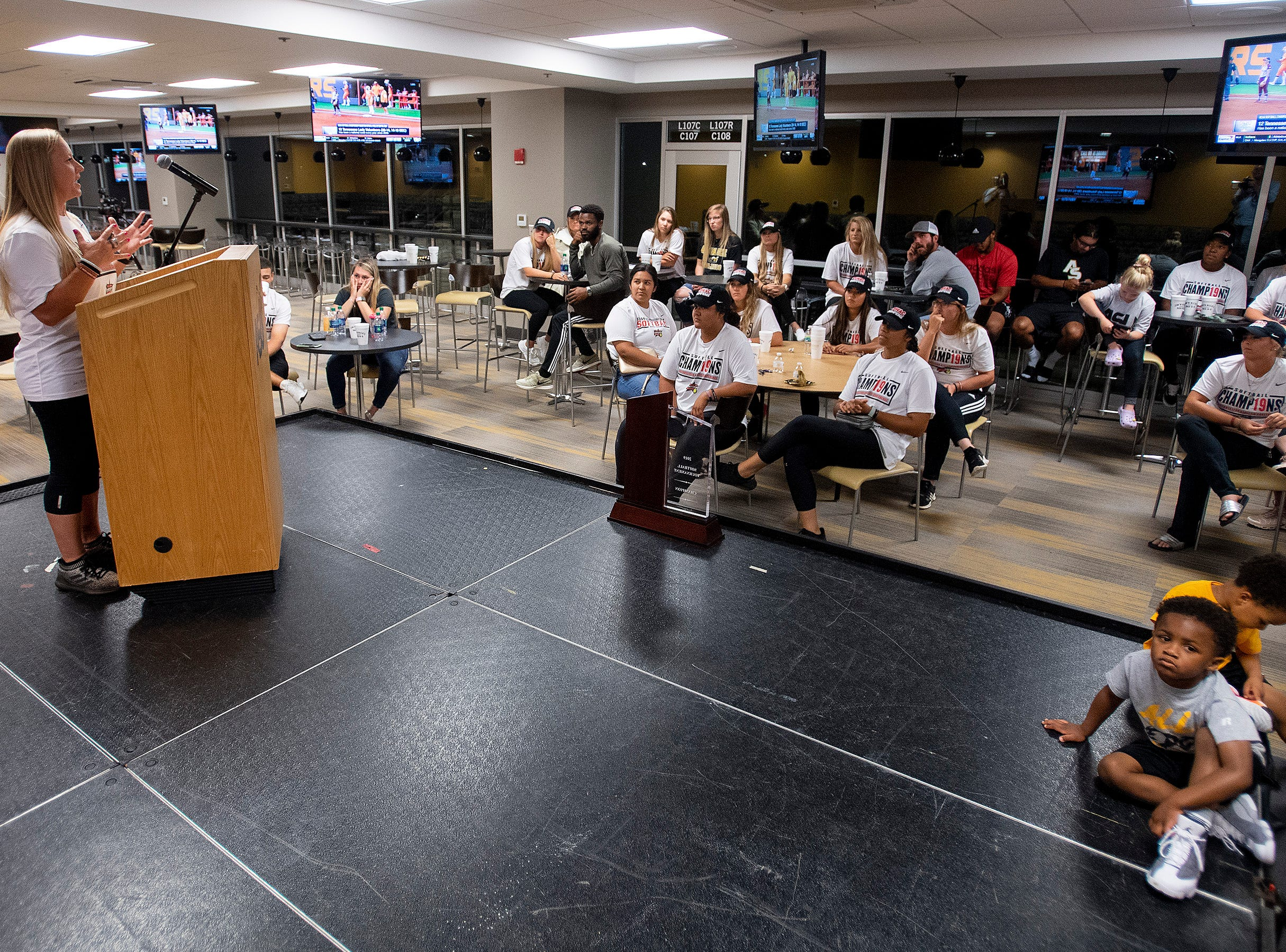 Alabama State University Softball coach Chris Steiner-Wilcoxson speaks at the teams watch party, on the ASU campus in Montgomery, Ala., on Sunday evening May 12, 2019, to see where they will play in the NCAA Softball Tournament. ASU plays Alabama in Tuscaloosa.