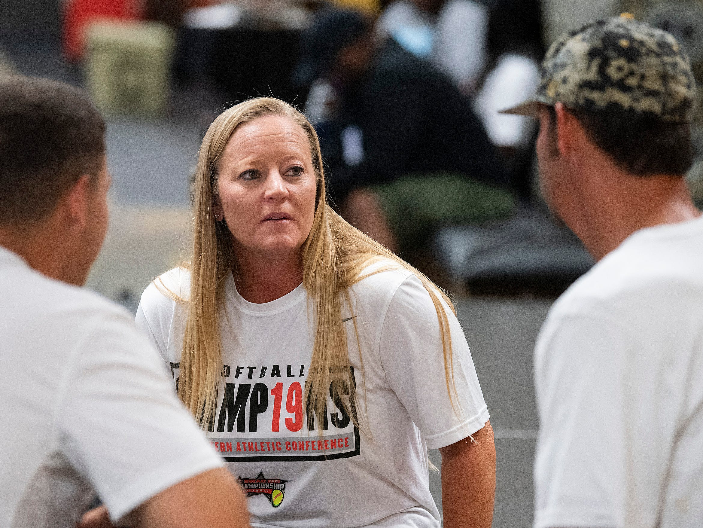 Alabama State University Softball coach Chris Steiner-Wilcoxson talks with her assistant coaches at the teams watch party, on the ASU campus in Montgomery, Ala., on Sunday evening May 12, 2019, to see where they will play in the NCAA Softball Tournament. ASU plays Alabama in Tuscaloosa.