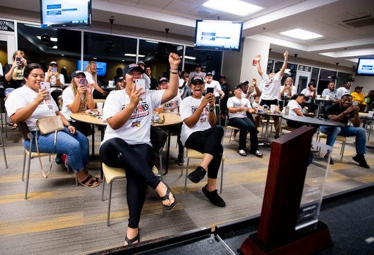 The Alabama State University Softball team holds a watch party, on the ASU campus in Montgomery, Ala., on Sunday evening May 12, 2019, to see where they will play in the NCAA Softball Tournament. ASU plays Alabama in Tuscaloosa.