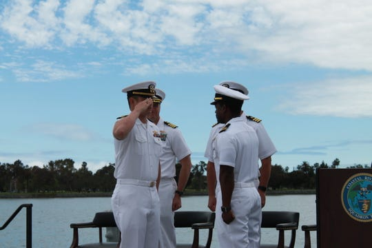 Lt. Antionne Winston, commanding officer of Coastal Riverine Squadron Three Bravo Company Crew One, relieves Lt. Ralph Francisco during an assumption of command ceremony onboard Naval Amphibious Base Coronado becoming the second ever naval officer to assume command of a Mk VI patrol boat and its crew.