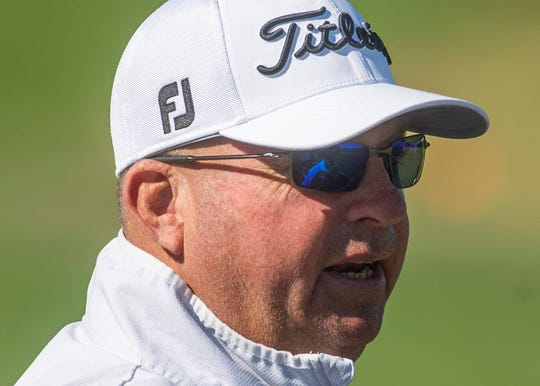 Brantley golf coach Roland Jones watches his golfers compete in the AHSAA State Golf Championship at the Robert Trent Jones Golf Trail Capitol Hill Course in Prattville, Ala., on Monday May 13, 2019.