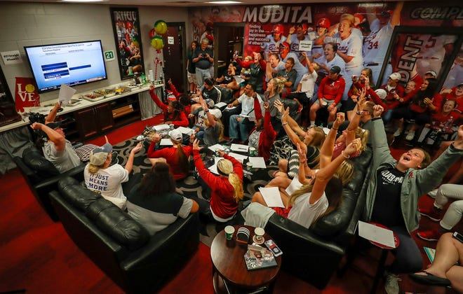 The Alabama softball team celebrates drawing the No. 8 national seed in the upcoming NCAA Tournament during a watch party Sunday night, May 12, 2019, from the Rhoads Stadium field house. (Photo by Haley Peterson/Alabama athletics)