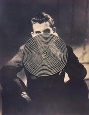 "Nick DeFord, ""Vortex (Vile),"" hand-sewn embroidery on found photograph, 9"" x 7."""