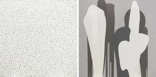 "Jane Braddock, ""Ashes To Snow,"" diptych, acrylic on canvas, 60""x 60"" each."