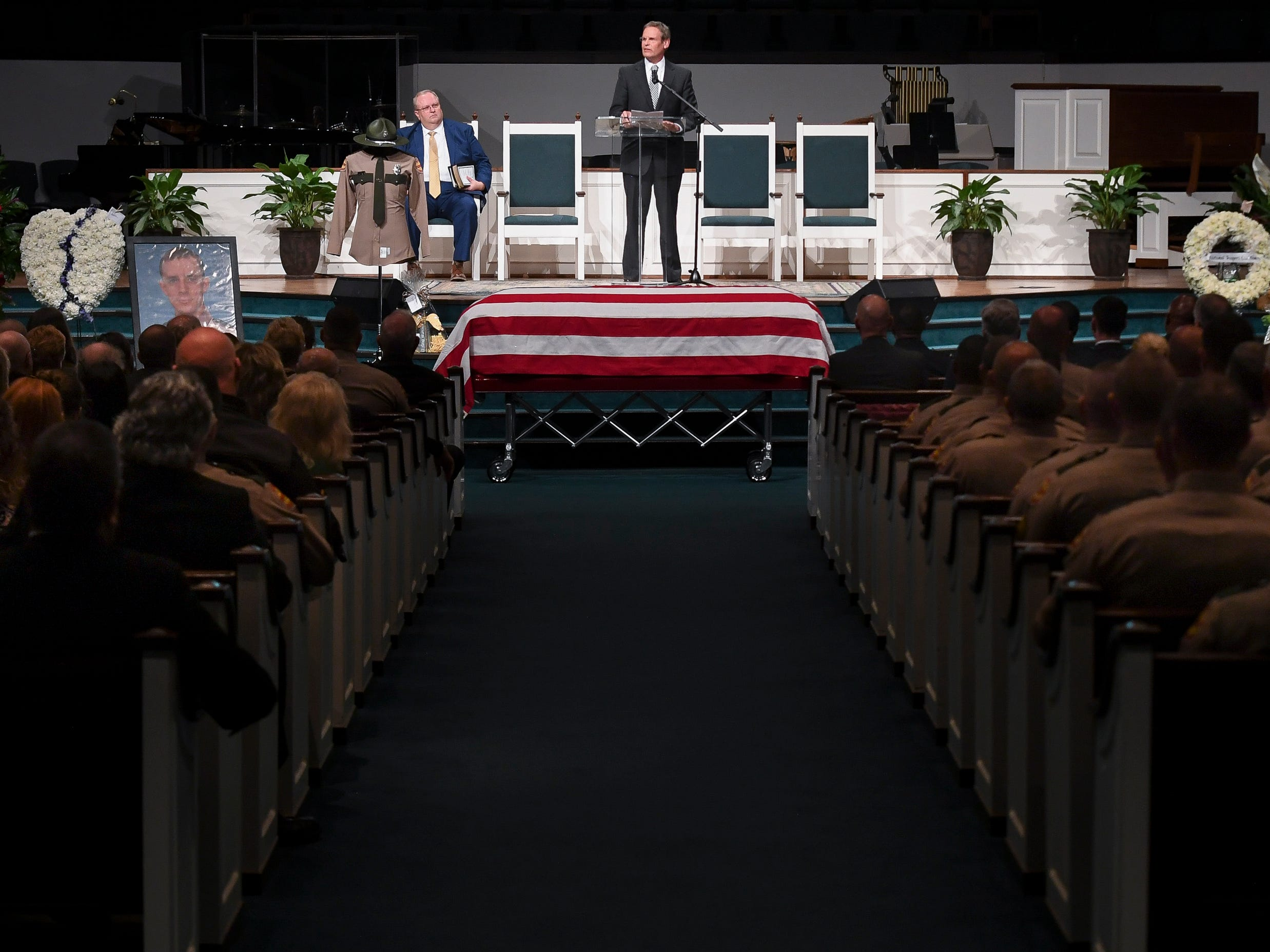 Tennessee Governor Bill Lee speaks during the funeral service for Tennessee State Trooper Matthew Gatti at West Jackson Baptist Church in Jackson, Tenn., Monday, May 13, 2019. Gatti died in the line of duty in an accident while responding to a car fire on I-40 in Madison County on May 6.