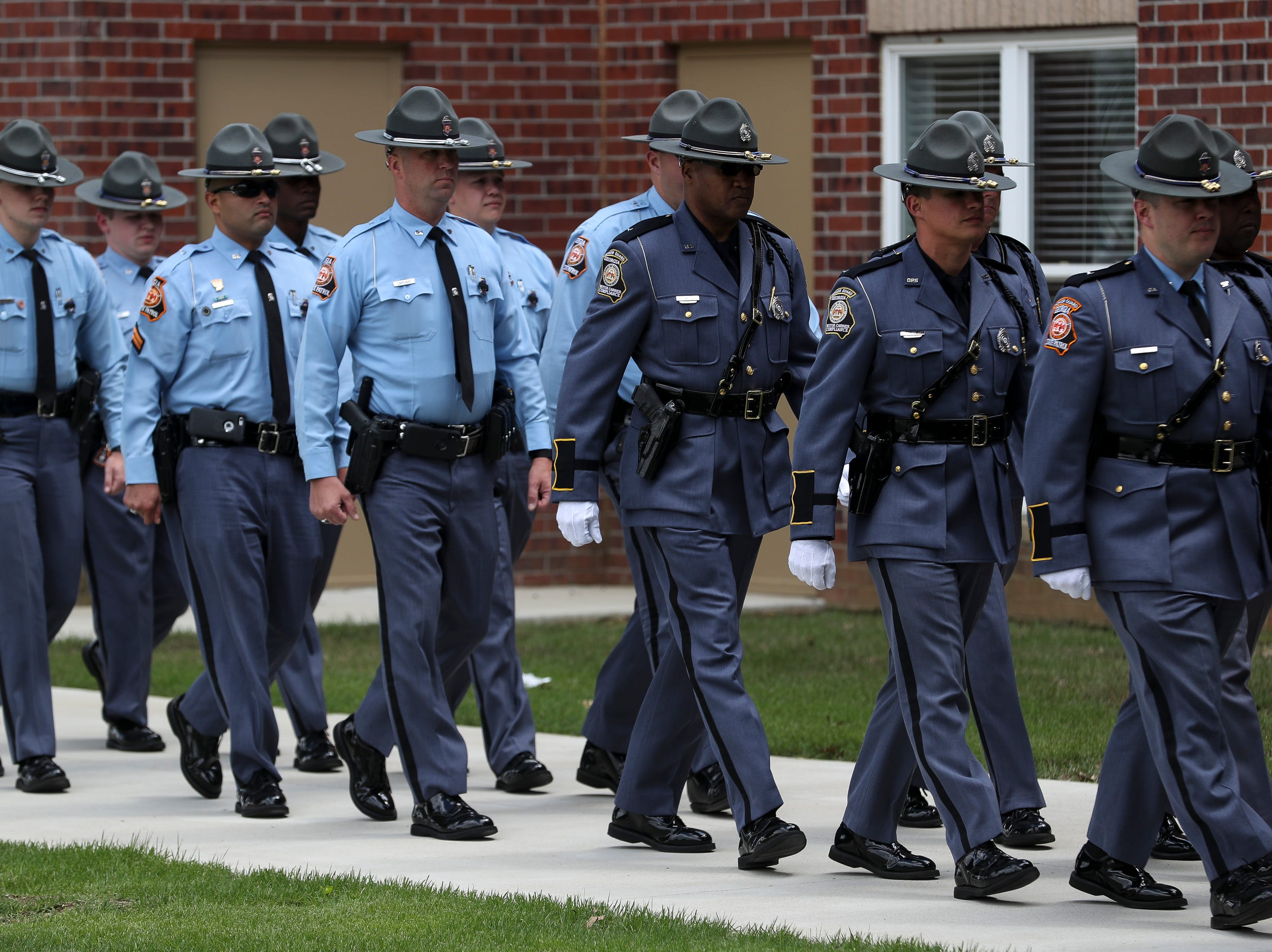 before the funeral service for Tennessee State Trooper Matthew Gatti at West Jackson Baptist Church in Jackson, Tenn., Monday, May 13, 2019. Gatti died in the line of duty in an accident while responding to a car fire on I-40 in Madison County on May 6.