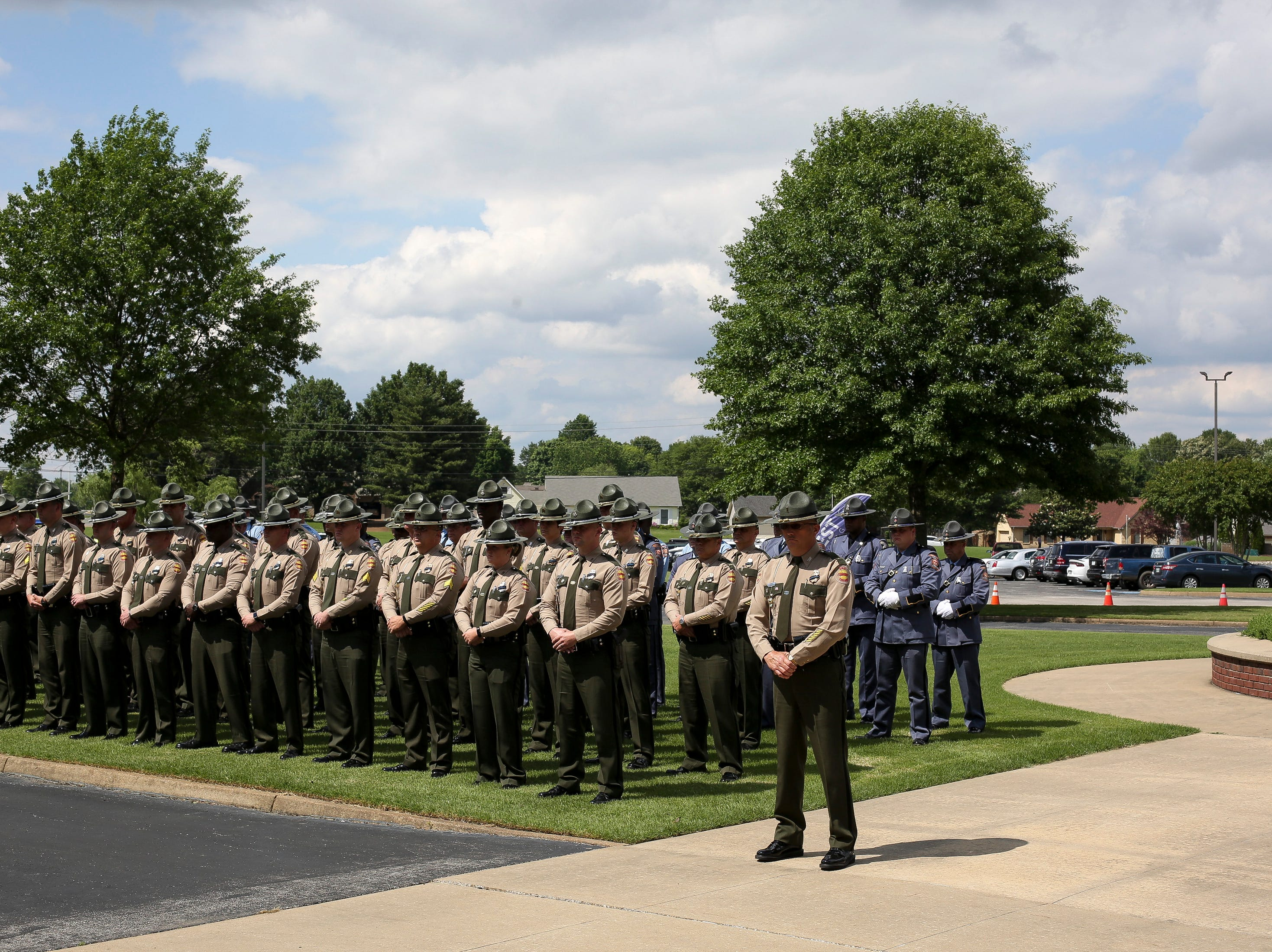 Tennessee State Troopers line up after the funeral service for Tennessee State Trooper Matthew Gatti at West Jackson Baptist Church in Jackson, Tenn., Monday, May 13, 2019. Gatti died in the line of duty in an accident while responding to a car fire on I-40 in Madison County on May 6.