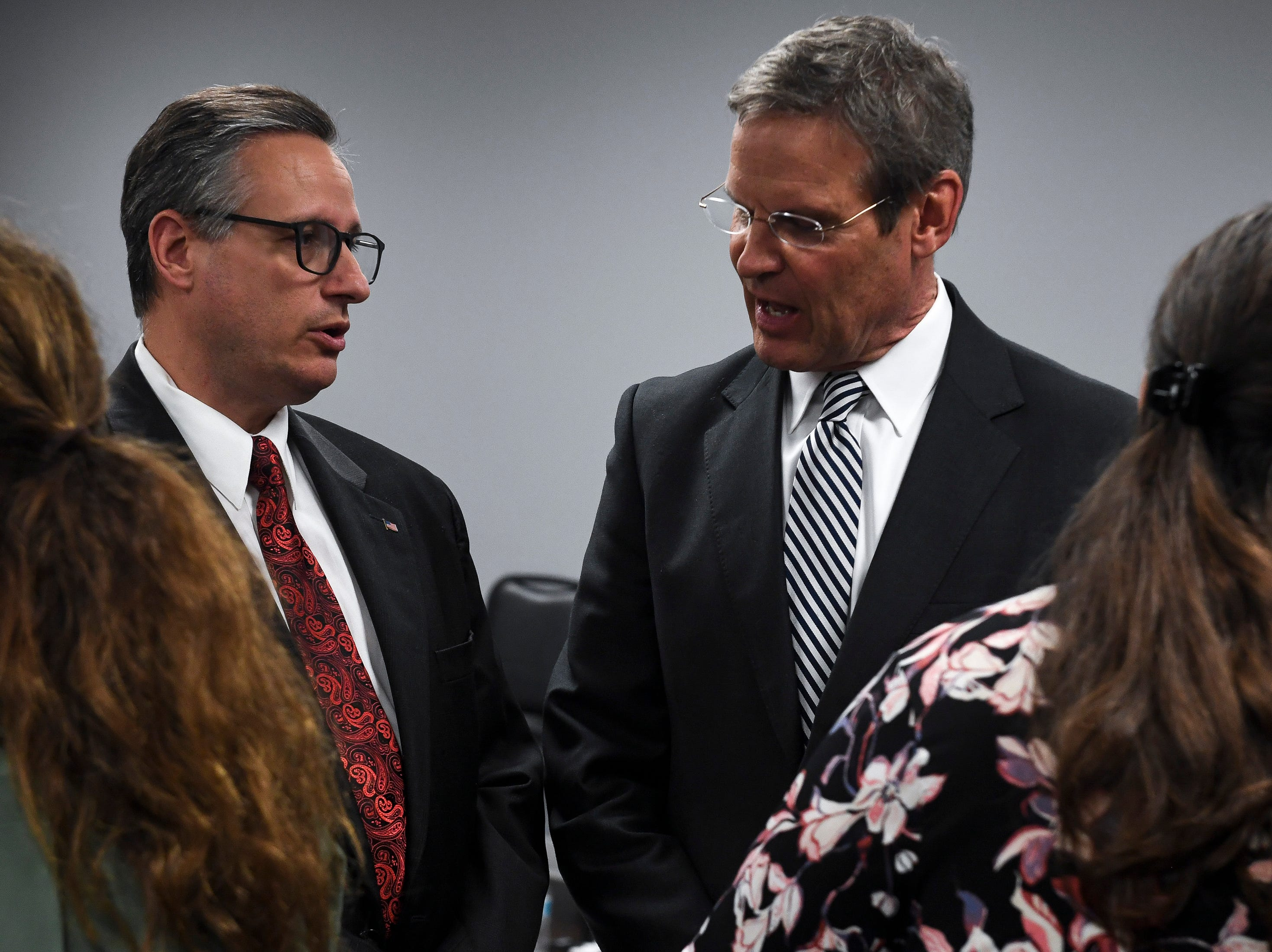 Chris Gatti, left, father of Matthew Gatti, speaks with Tennessee Governor Bill Lee before the funeral service for Tennessee State Trooper Matthew Gatti at West Jackson Baptist Church in Jackson, Tenn., Monday, May 13, 2019. Gatti died in the line of duty in an accident while responding to a car fire on I-40 in Madison County on May 6.