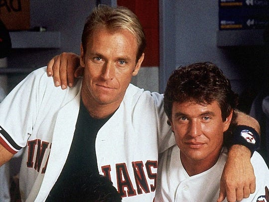 "In this 1989 image provided by Paramount Pictures, Tom Berenger, right, plays Cleveland Indians catcher Jake Taylor, and Corbin Bernsen, left, plays third baseman Roger Dorn in the Paramount comedy ""Major League."""