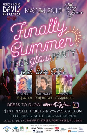 The Finally Summer Teen Glow Party takes place Friday, May 24, at the Sidney and Berne Davis Art Center in Fort Myers.