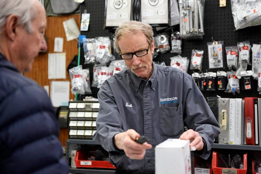 Bob Parkinson, right, helps customer Bob Chambers of Tenafly at Davidson's Plumbing Supply on Monday, May 13, 2019, in Paramus. Parkinson is celebrating 50 years at the company, which he started working part-time when he was 15 years old.