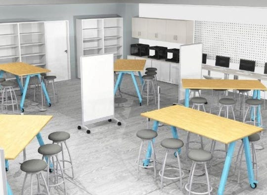 An artist's rendering of the renovated media center at Manchester Regional High School in Haledon.