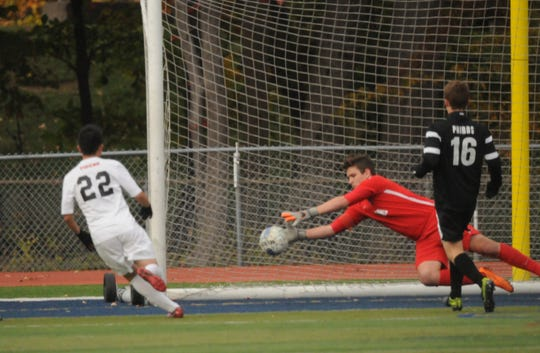In this 2015 file photo, Jase Barrack makes a save for Northern Highlands in the Bergen County Tournament boys soccer semifinal.