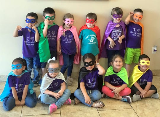 Pre-K students from Fruit of the Vine pre-school visited Ultimate Fitness for a Superhero Academy last week and were treated to a healthy snack at Mango Maddies located in the Plaza de Florida at the 700 block of Florida Street. Students were dressed in their best super hero costumes to represent the academy.