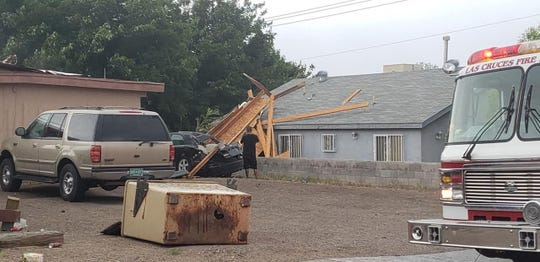 Las Cruces firefighters respond to the area of Colorado and Española to assess property damage following a storm on Sunday, May 12, 2019.
