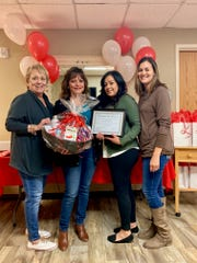 Marsha Drapala Doss, Executive Director ; Maria Bustamante, 2019 Landsun Health Service Center Nurse of the Year ; Georgia Mireles, Director of Nursing ; Lisa Aguilar, Director of Resident Services