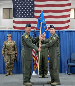 Col. Jeffery Patton, 49th Operations Group commander (left), and Lt. Col. Randall Noel, 491st Attack Squadron commander (right), pose for a photo during a squadron activation and assumption of command ceremony, May 8, 2019, on Hancock Field Air National Guard Base, N.Y. Noel formerly led the 6th and 16th Attack Squadrons on Holloman Air Force Base, N.M., as the Director of Operations, and the first to assume command over the 491st ATKS.