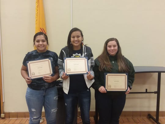 Seniors Katlyn Morgan, Quinlynn Antonio and Gabrielle Brillante receive Mescalero Responsible  Gaming Scholarships.